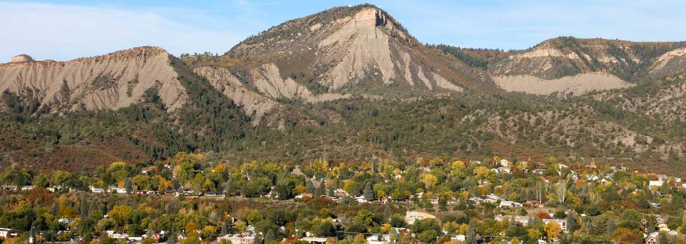 autumn overhead city mountain